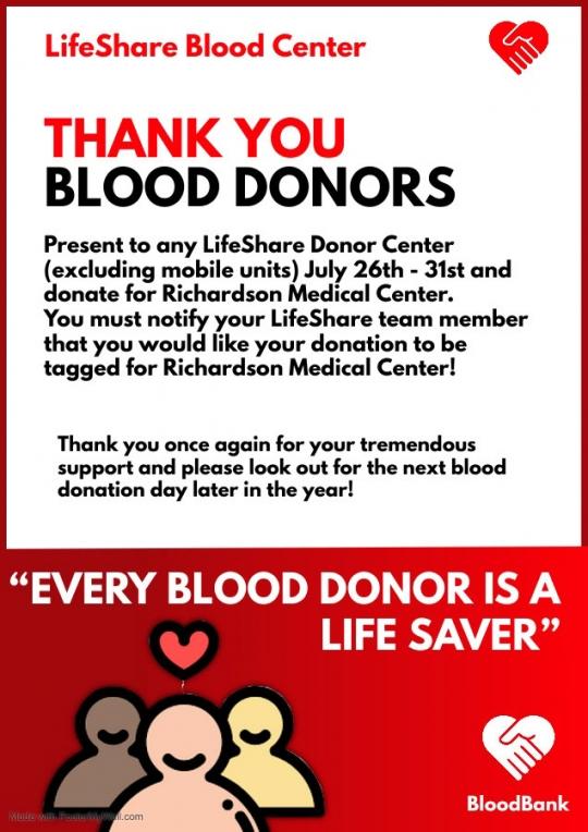 Richardson Medical Center Thanks Blood Donors